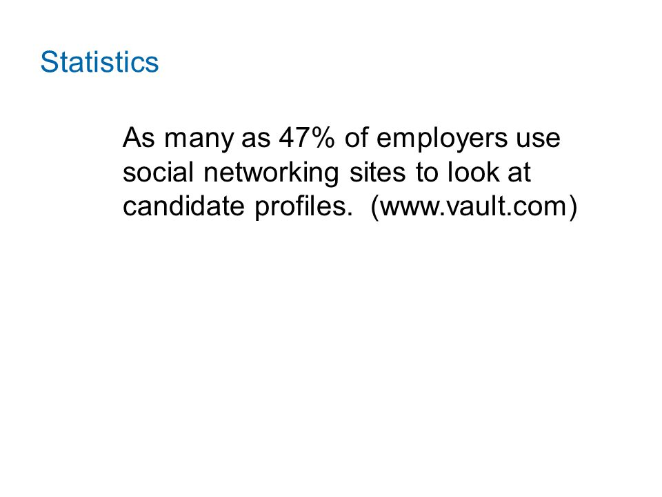 Statistics As many as 47% of employers use social networking sites to look at candidate profiles.