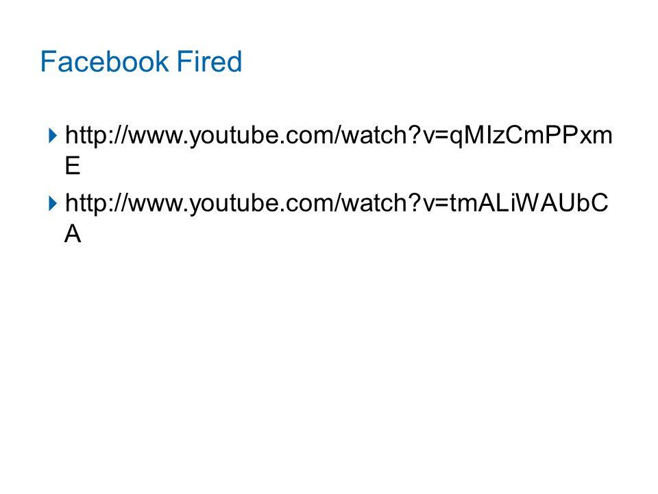 Facebook Fired  http://www.youtube.com/watch?v=qMIzCmPPxm E  http://www.youtube.com/watch?v=tmALiWAUbC A