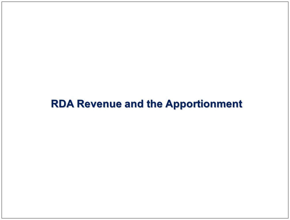 24 RDA Revenue and the Apportionment