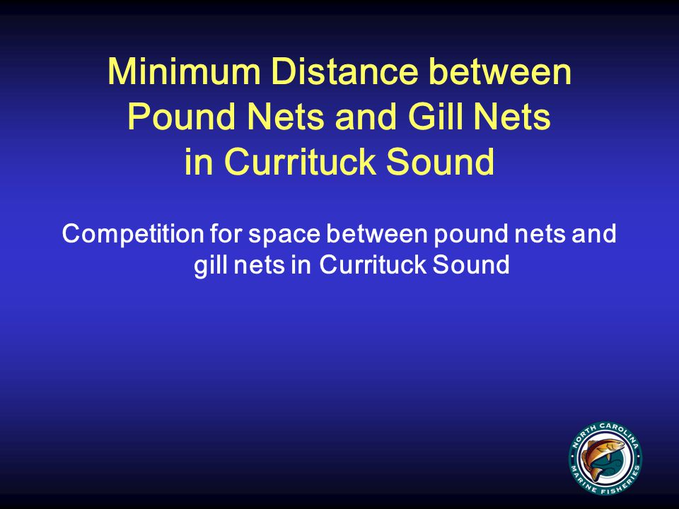 Minimum Distance between Pound Nets and Gill Nets in Currituck Sound Competition for space between pound nets and gill nets in Currituck Sound