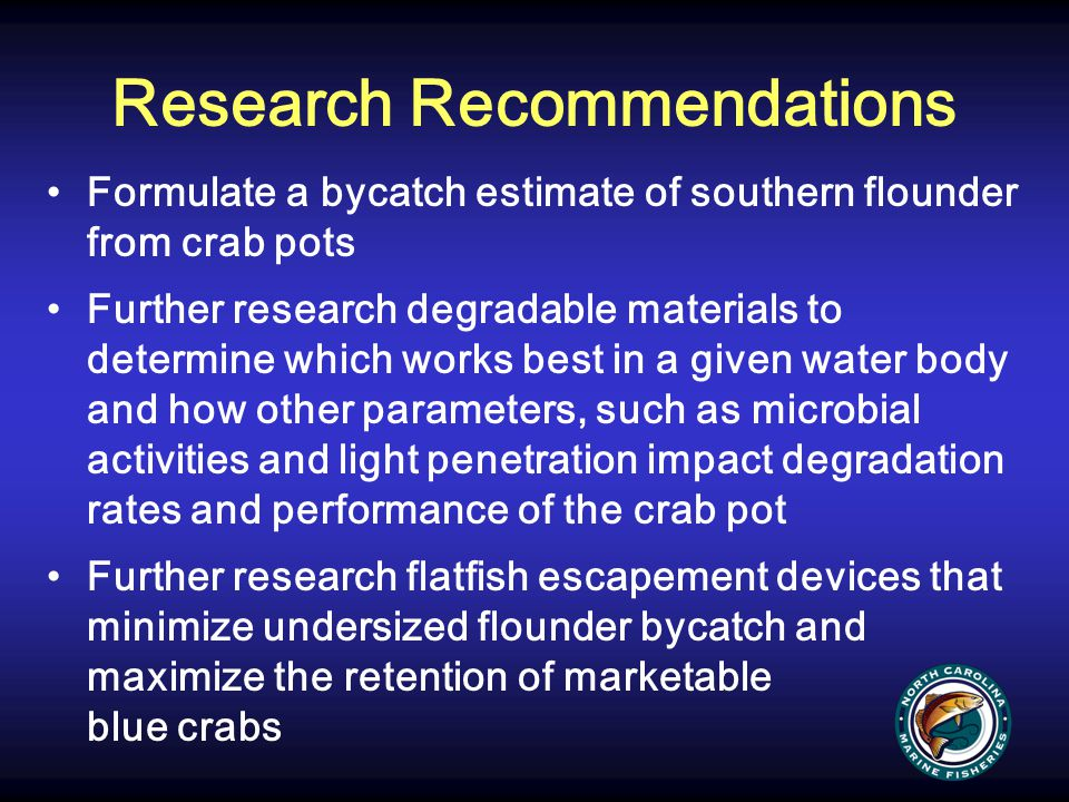 Research Recommendations Formulate a bycatch estimate of southern flounder from crab pots Further research degradable materials to determine which wor