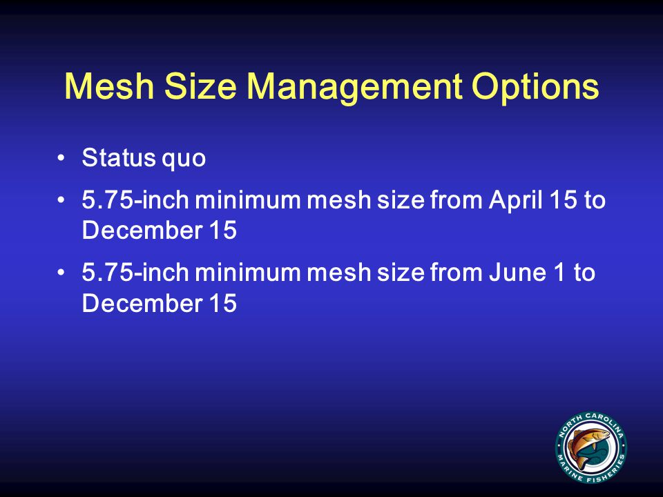 Mesh Size Management Options Status quo 5.75-inch minimum mesh size from April 15 to December 15 5.75-inch minimum mesh size from June 1 to December 1