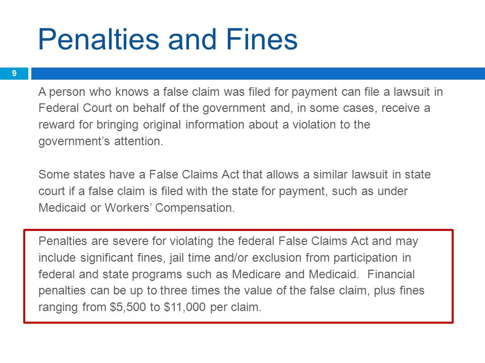 Penalties and Fines A person who knows a false claim was filed for payment can file a lawsuit in Federal Court on behalf of the government and, in some cases, receive a reward for bringing original information about a violation to the government's attention.