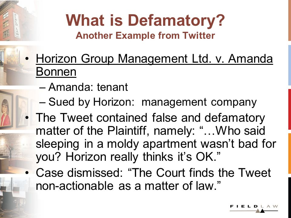What is Defamatory. Another Example from Twitter Horizon Group Management Ltd.