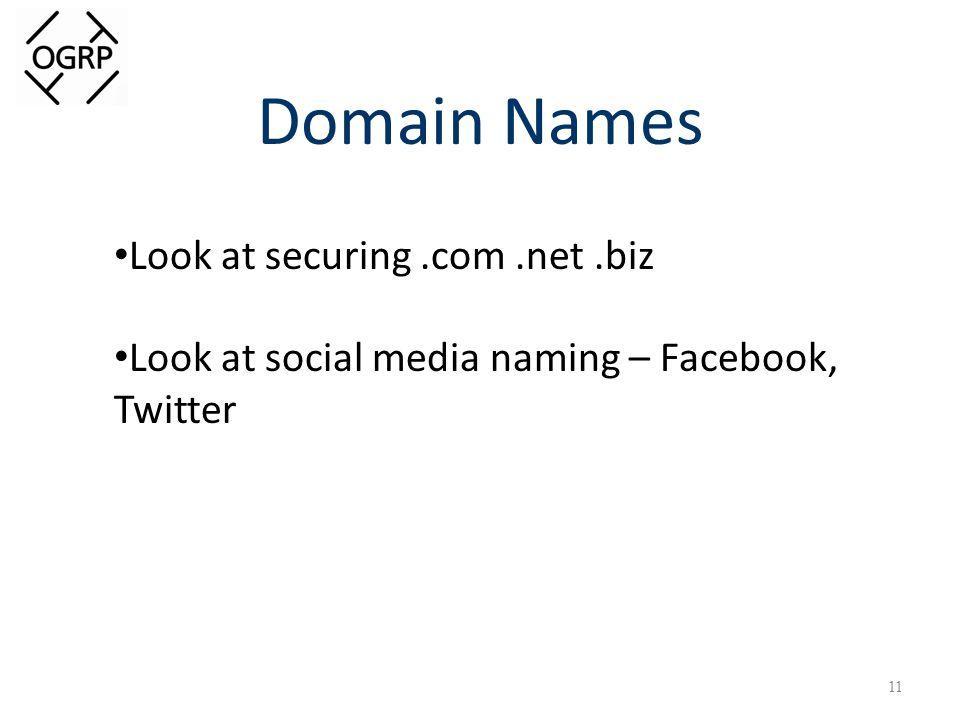 Domain Names 11 Look at securing.com.net.biz Look at social media naming – Facebook, Twitter