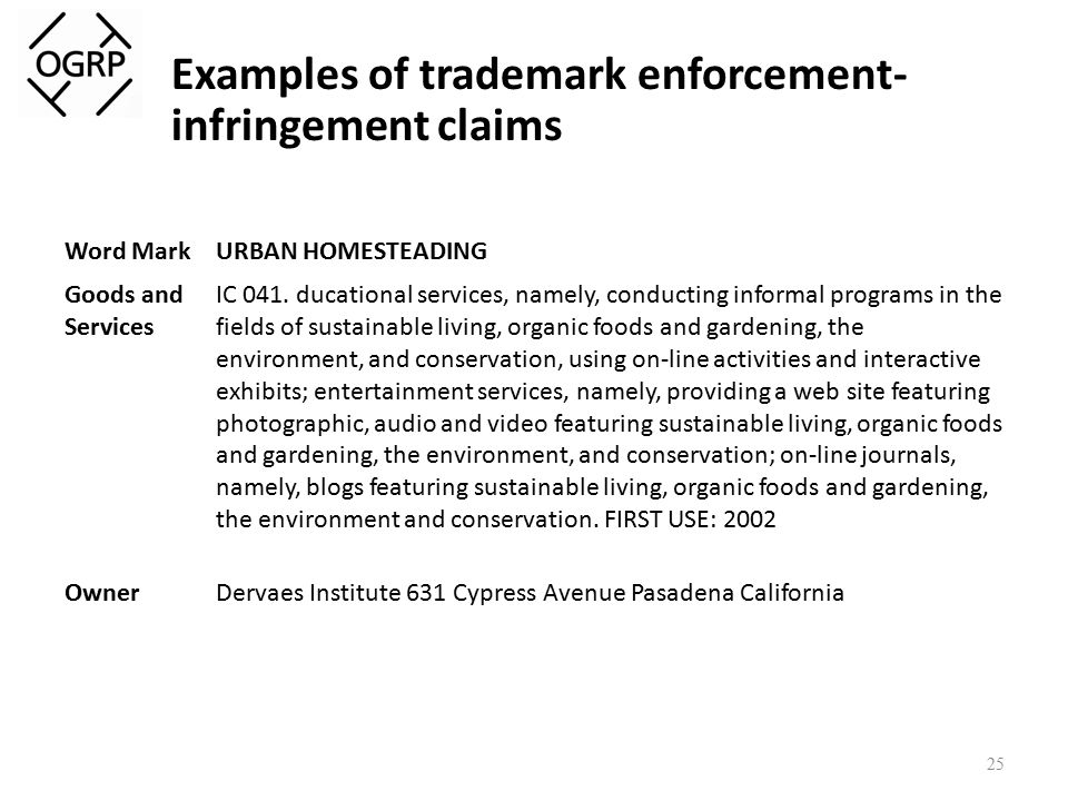 Examples of trademark enforcement- infringement claims 25 Word MarkURBAN HOMESTEADING Goods and Services IC 041.