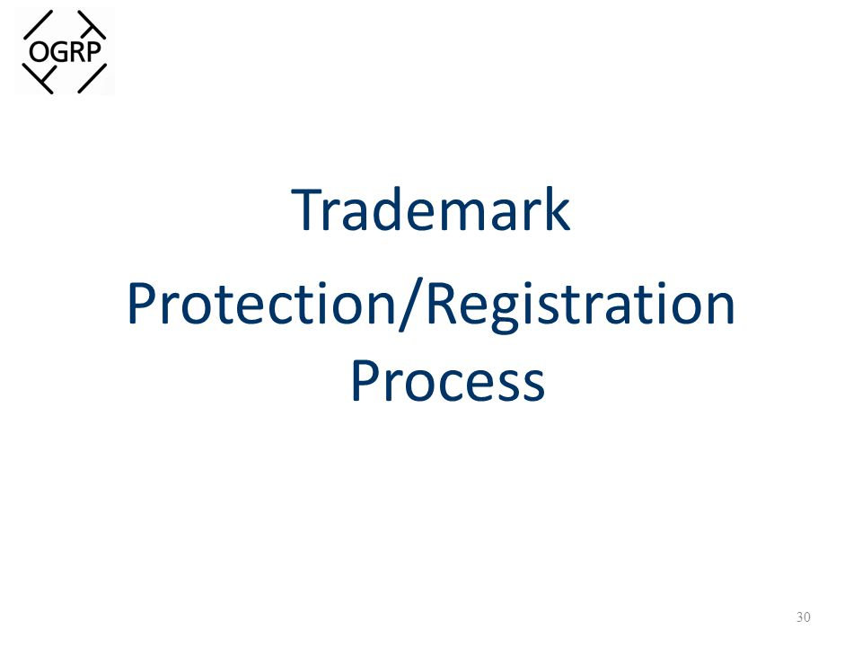 Trademark Protection/Registration Process 30