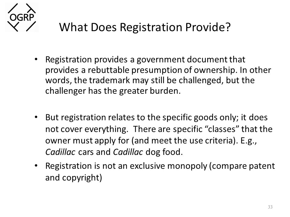 What Does Registration Provide.
