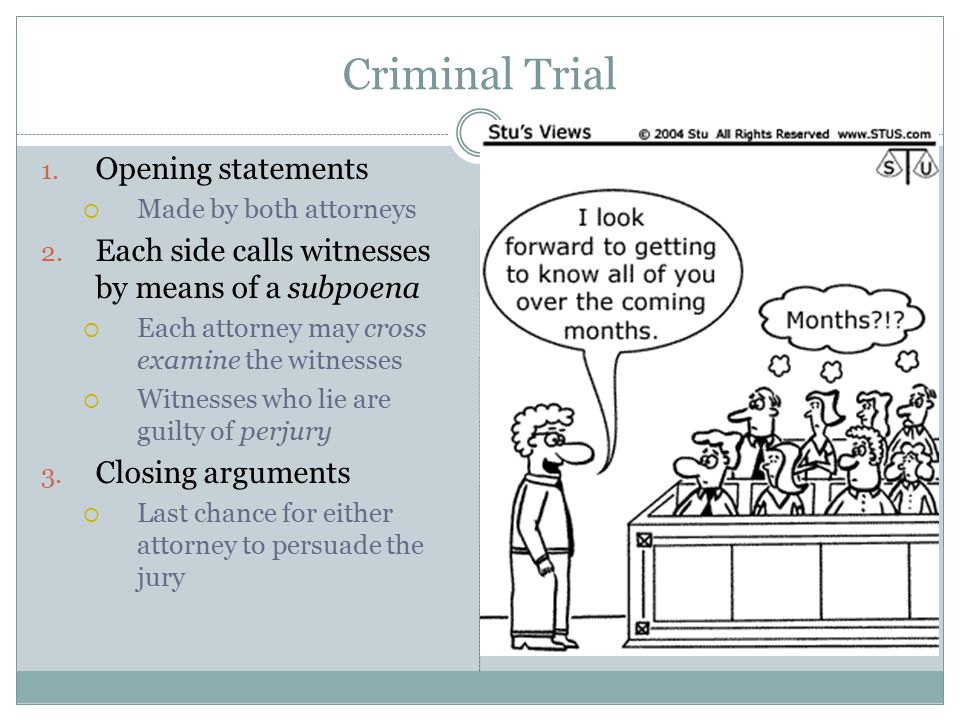 Criminal Trial 1.Opening statements  Made by both attorneys 2.