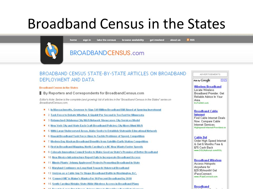 Broadband Census in the States
