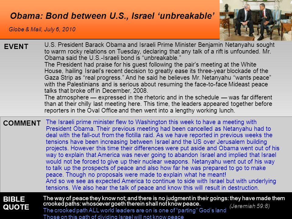 Obama: Bond between U.S., Israel 'unbreakable' U.S.