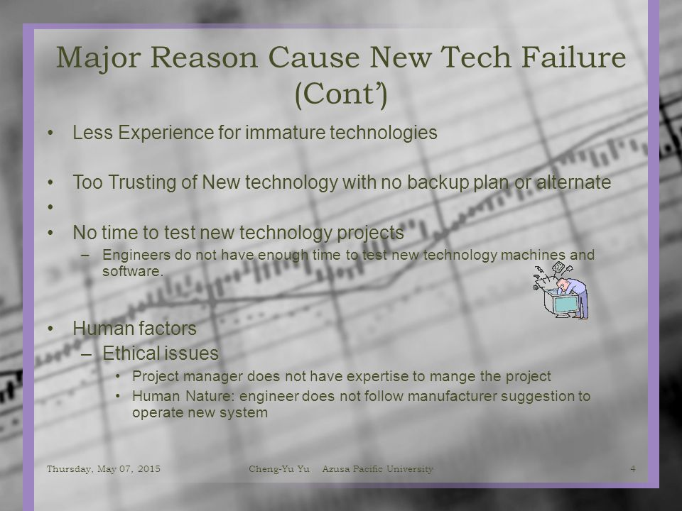 Major Reason Cause New Tech Failure (Cont') Less Experience for immature technologies Too Trusting of New technology with no backup plan or alternate