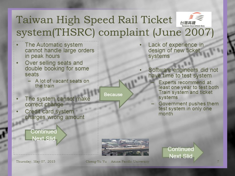 Taiwan High Speed Rail Ticket system(THSRC) complaint (June 2007) The Automatic system cannot handle large orders in peak hours Over selling seats and