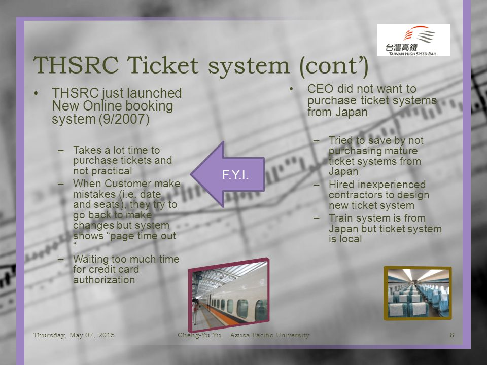 THSRC Ticket system (cont') THSRC just launched New Online booking system (9/2007) –Takes a lot time to purchase tickets and not practical –When Customer make mistakes (i.e.