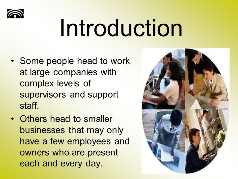 Introduction Some people head to work at large companies with complex levels of supervisors and support staff.