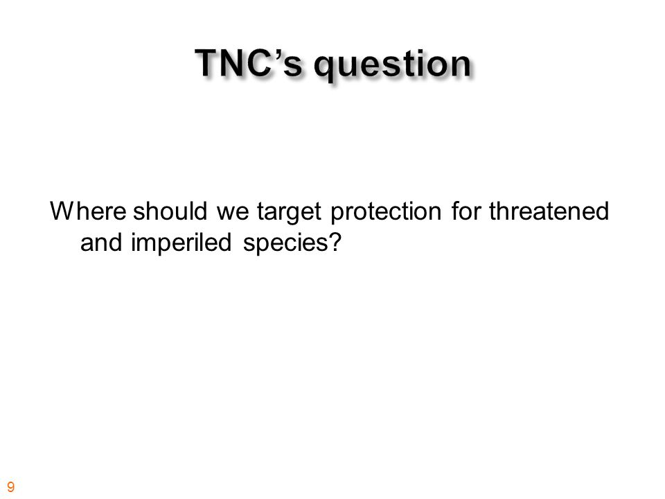 Where should we target protection for threatened and imperiled species 9