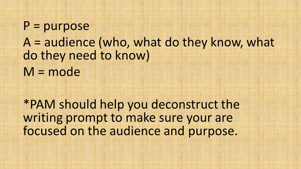 P = purpose A = audience (who, what do they know, what do they need to know) M = mode *PAM should help you deconstruct the writing prompt to make sure your are focused on the audience and purpose.