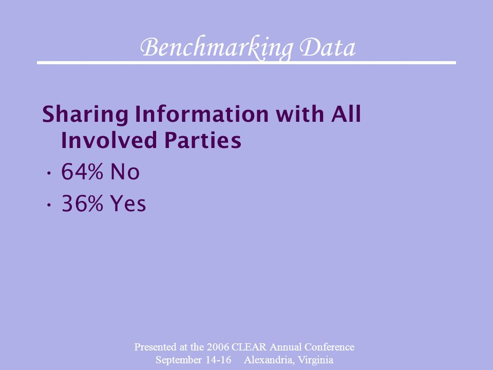 Presented at the 2006 CLEAR Annual Conference September 14-16 Alexandria, Virginia Benchmarking Data Sharing Information with All Involved Parties 64%
