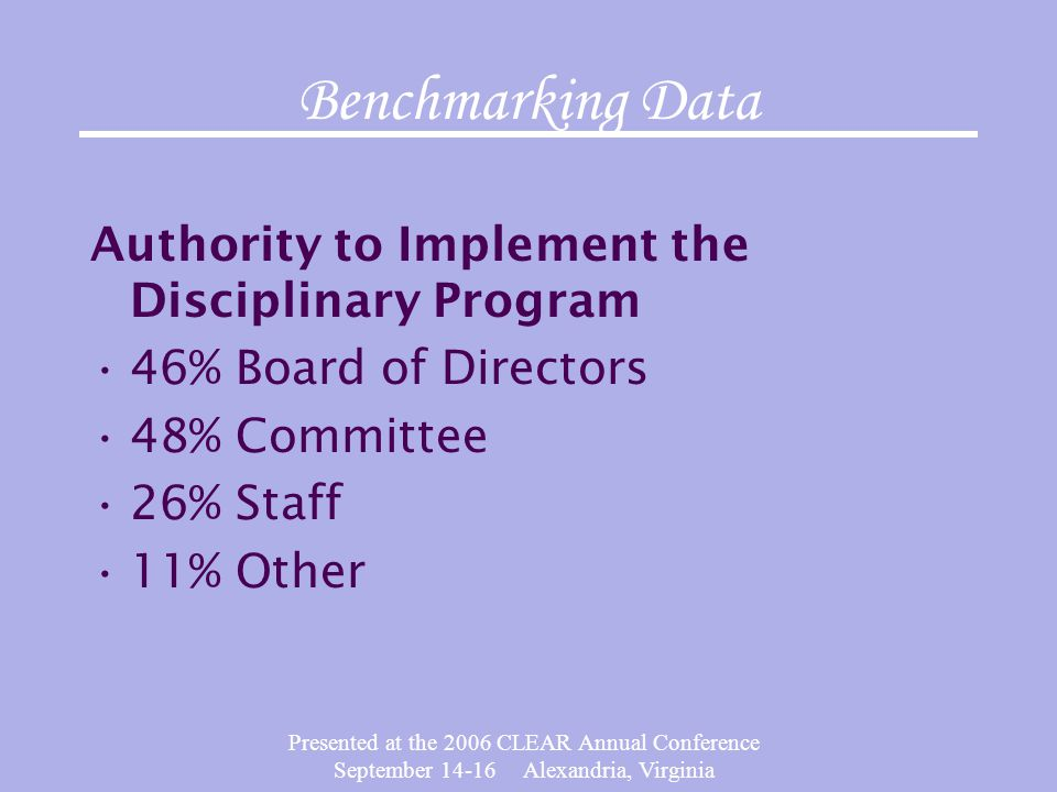 Presented at the 2006 CLEAR Annual Conference September 14-16 Alexandria, Virginia Benchmarking Data Authority to Implement the Disciplinary Program 4