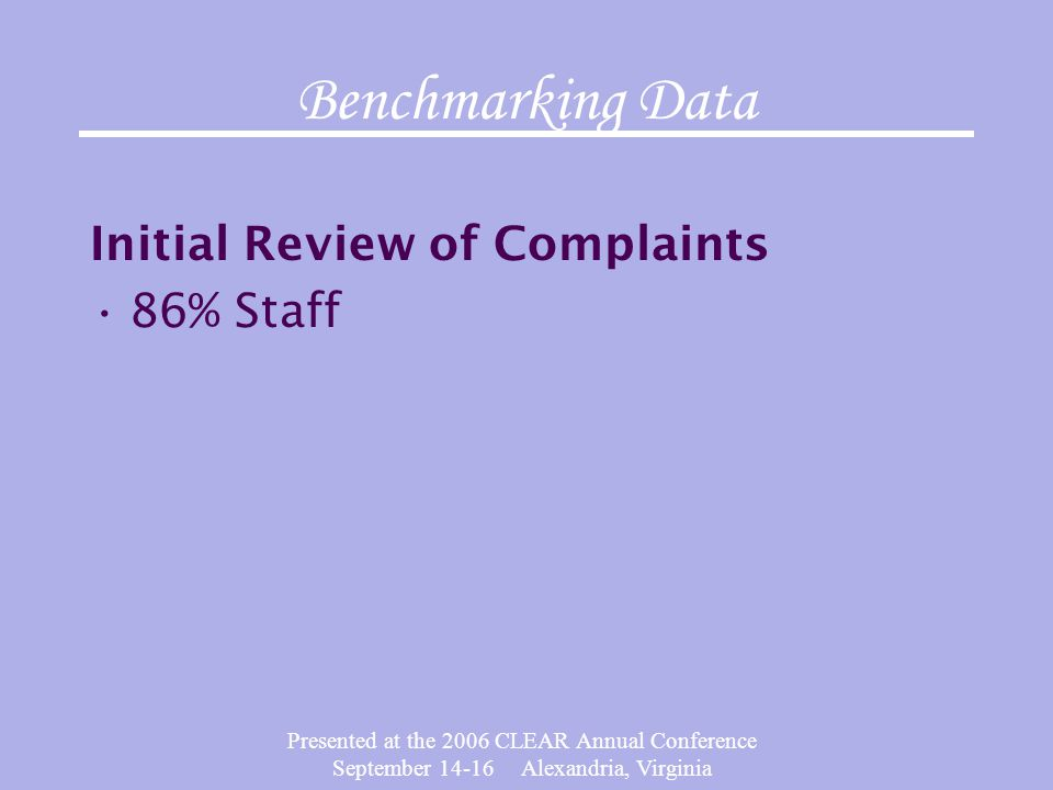Presented at the 2006 CLEAR Annual Conference September 14-16 Alexandria, Virginia Benchmarking Data Initial Review of Complaints 86% Staff