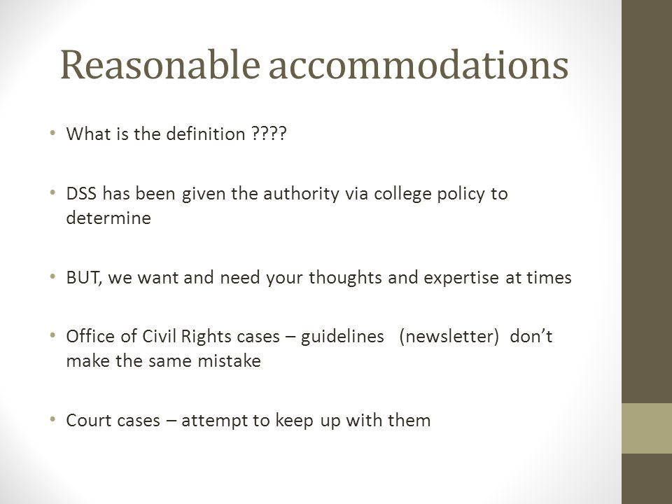 Reasonable accommodations What is the definition ???.