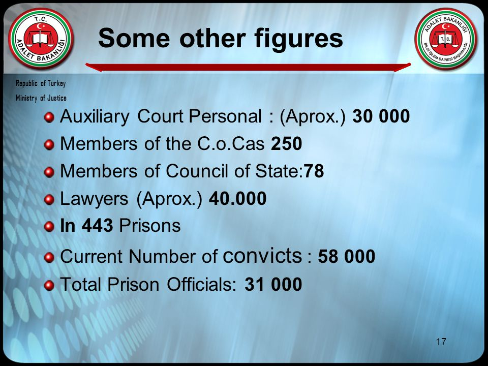 17 Some other figures Auxiliary Court Personal : (Aprox.) 30 000 Members of the C.o.Cas 250 Members of Council of State:78 Lawyers (Aprox.) 40.000 In