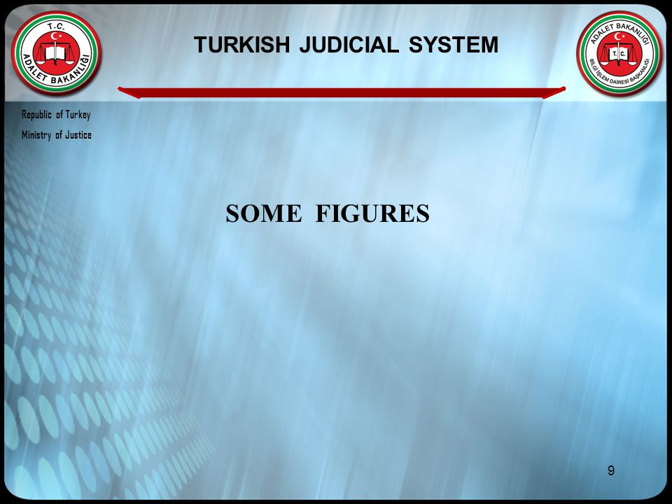 9 SOME FIGURES TURKISH JUDICIAL SYSTEM Republic of Turkey Ministry of Justice