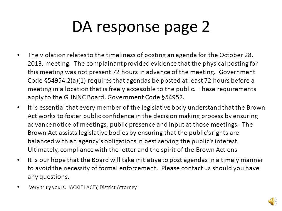 DA Response Letter to GHNNC.