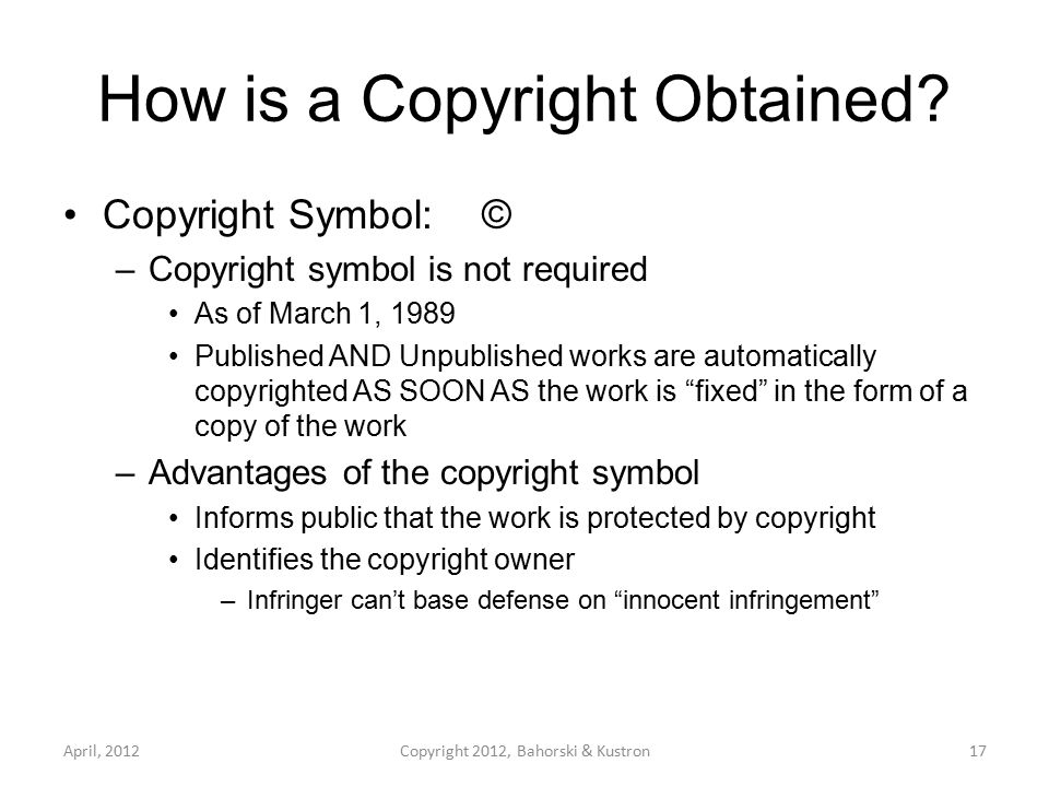 How is a Copyright Obtained.