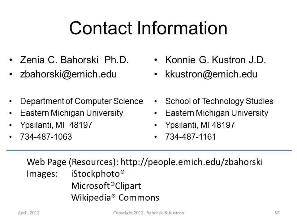 Contact Information Zenia C. Bahorski Ph.D.