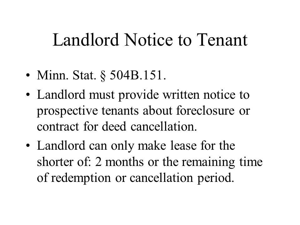 Landlord Notice to Tenant Minn. Stat. § 504B.151.