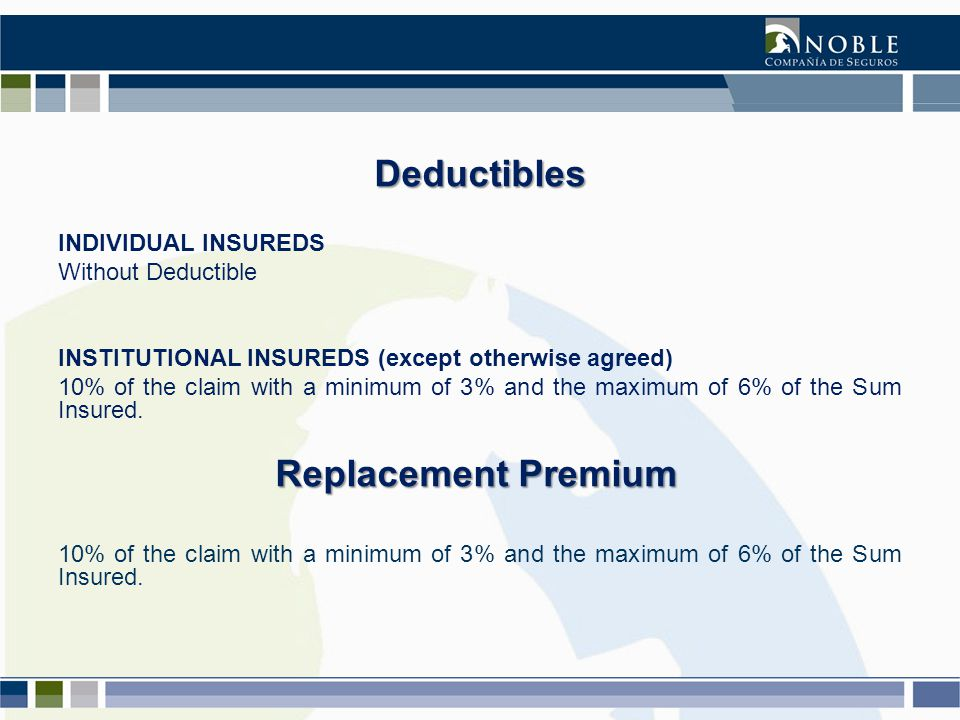 INDIVIDUAL INSUREDS Without Deductible INSTITUTIONAL INSUREDS (except otherwise agreed) 10% of the claim with a minimum of 3% and the maximum of 6% of the Sum Insured.