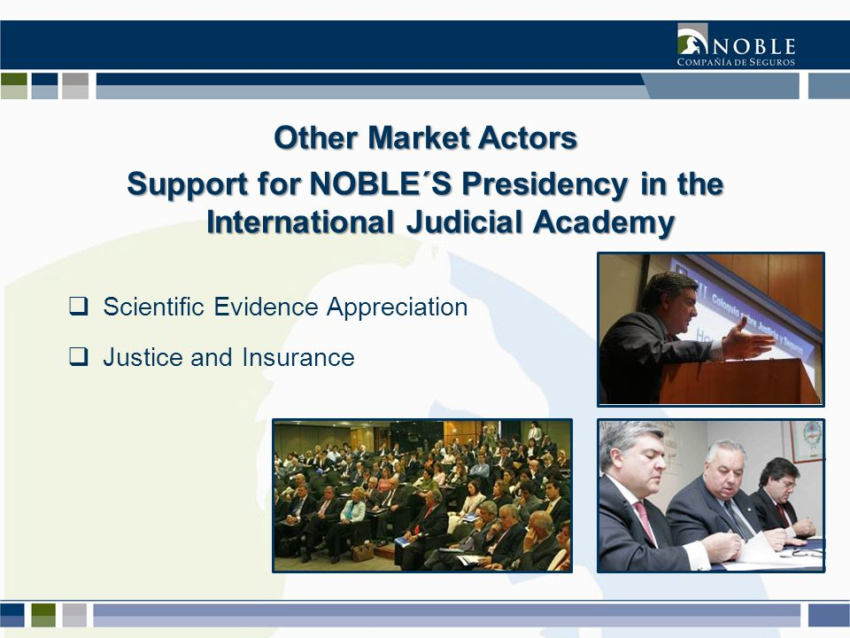 Other Market Actors Support for NOBLE´S Presidency in the International Judicial Academy  Scientific Evidence Appreciation  Justice and Insurance