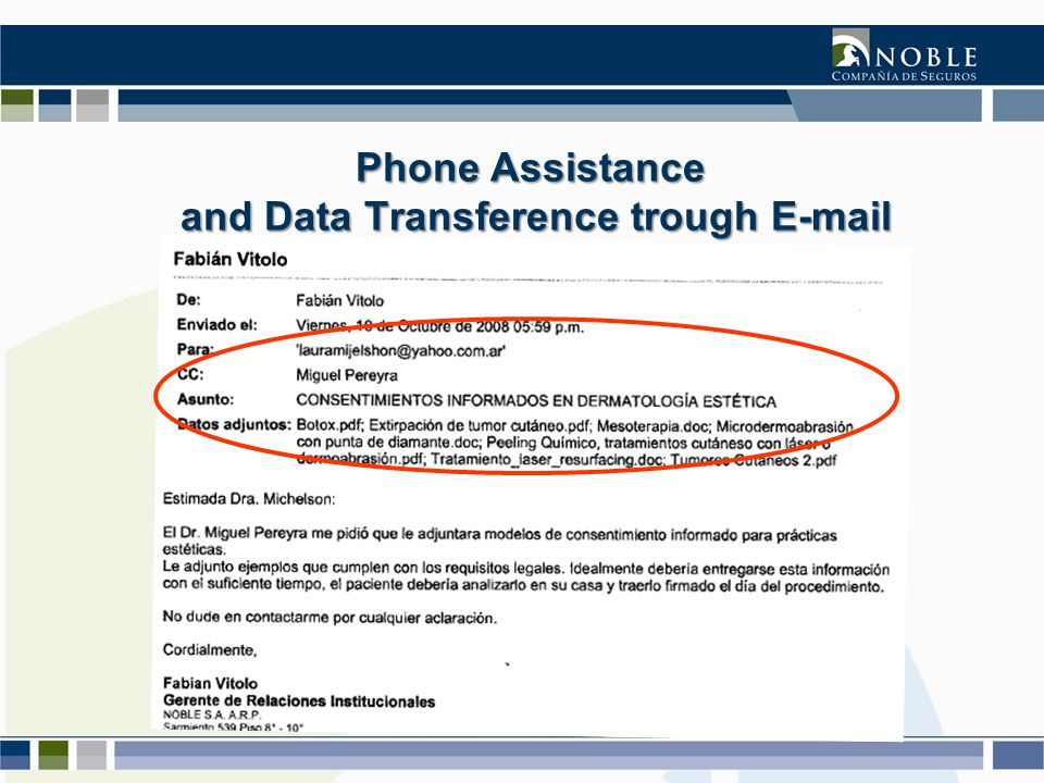 Phone Assistance and Data Transference trough E-mail and Data Transference trough E-mail