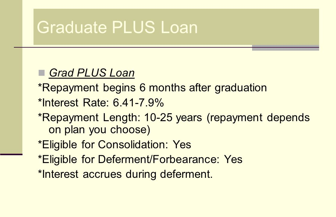 Health Professional Student Loan (HPSL) HPSL Loan *Grace Period: 12 months *Interest Rate: 5% *Repayment Length: 10-20 years (repayment depends on plan you choose) *Eligible for Consolidation: Yes *Eligible for Deferment: Yes *Forbearance: Negotiable *No interest accrues during deferment.