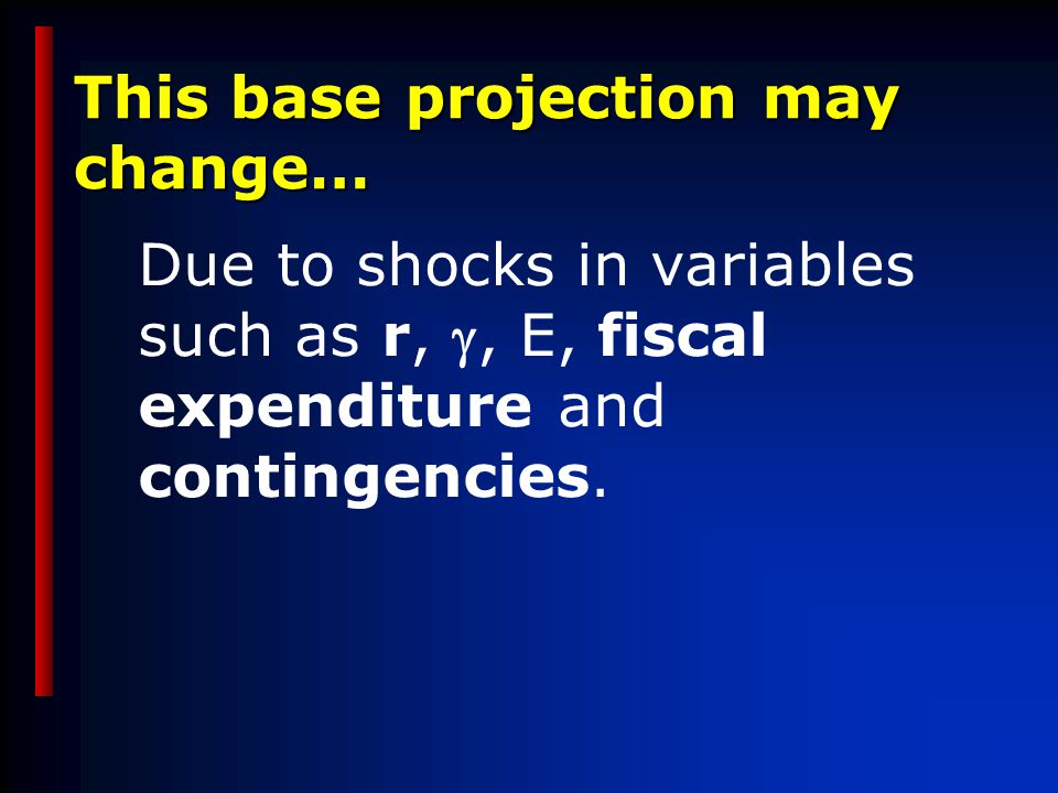 This base projection may change… Due to shocks in variables such as r, , E, fiscal expenditure and contingencies.