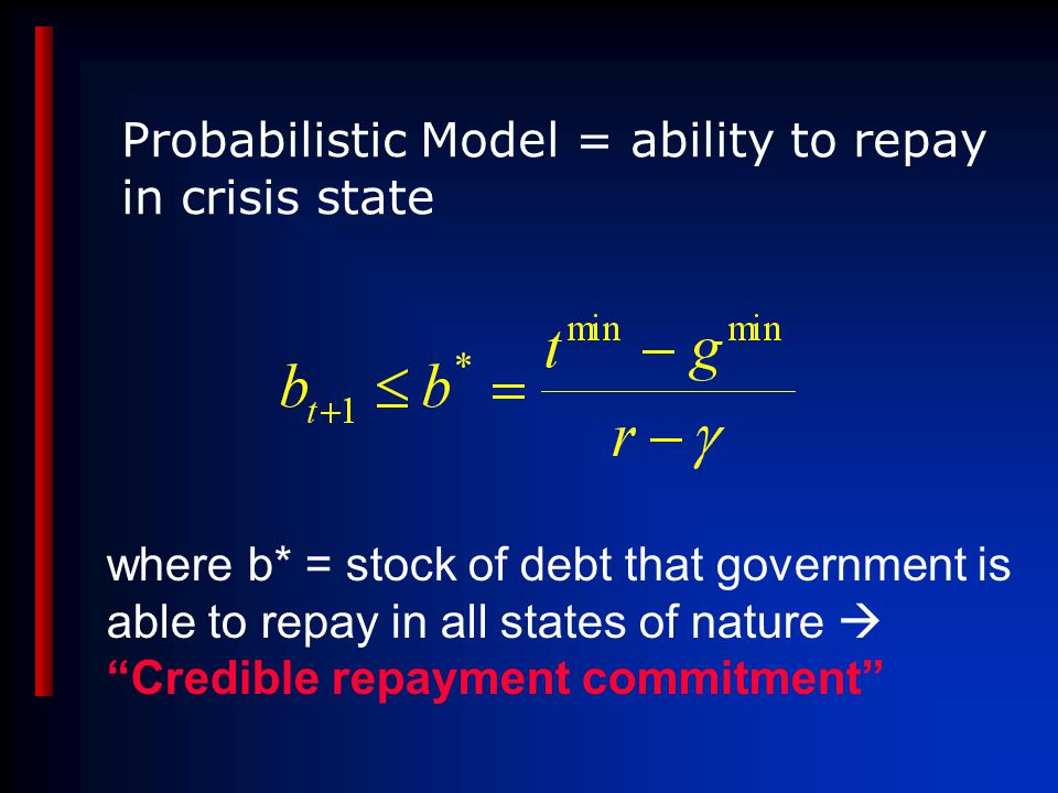 Probabilistic Model = ability to repay in crisis state where b* = stock of debt that government is able to repay in all states of nature  Credible repayment commitment