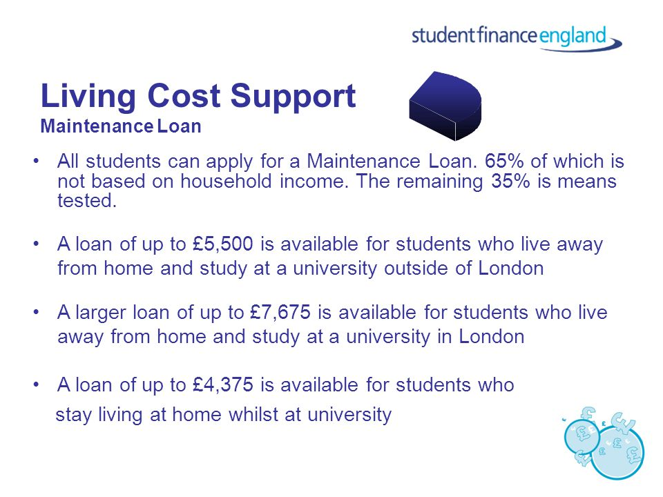 Living Cost Support Maintenance Loan All students can apply for a Maintenance Loan.