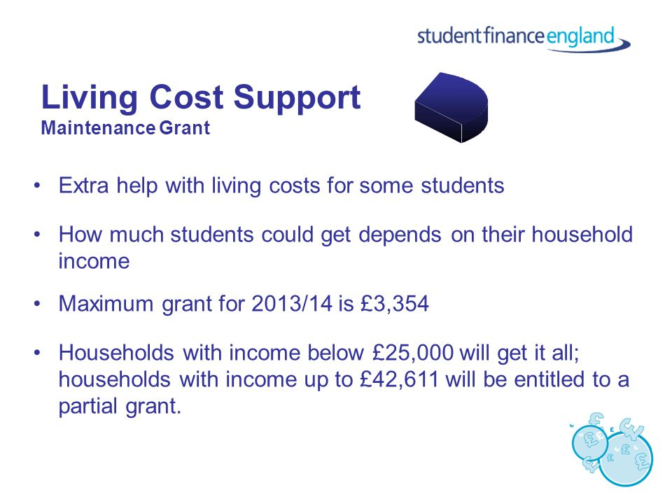 Living Cost Support Maintenance Grant Extra help with living costs for some students How much students could get depends on their household income Maximum grant for 2013/14 is £3,354 Households with income below £25,000 will get it all; households with income up to £42,611 will be entitled to a partial grant.
