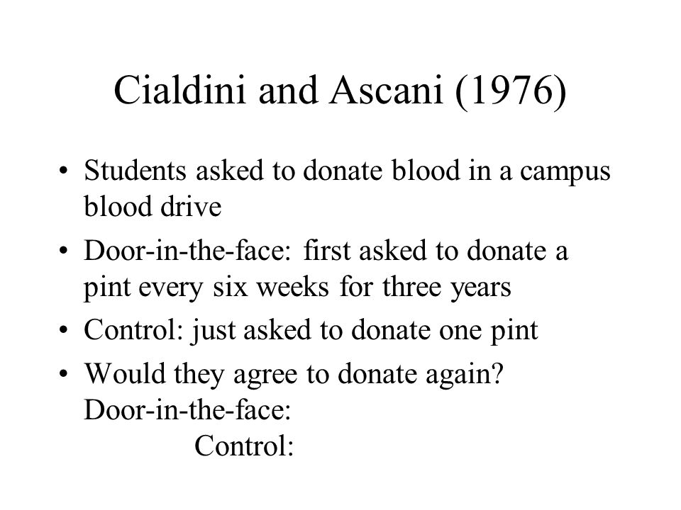 Cialdini and Ascani (1976) Students asked to donate blood in a campus blood drive Door-in-the-face: first asked to donate a pint every six weeks for three years Control: just asked to donate one pint Would they agree to donate again.