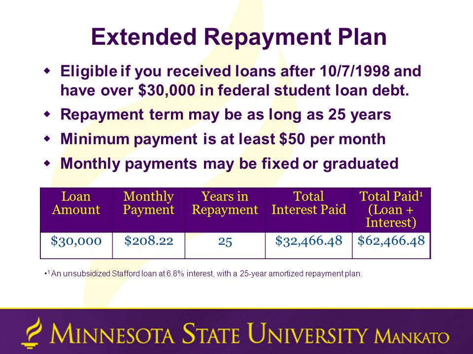 Extended Repayment Plan  Eligible if you received loans after 10/7/1998 and have over $30,000 in federal student loan debt.