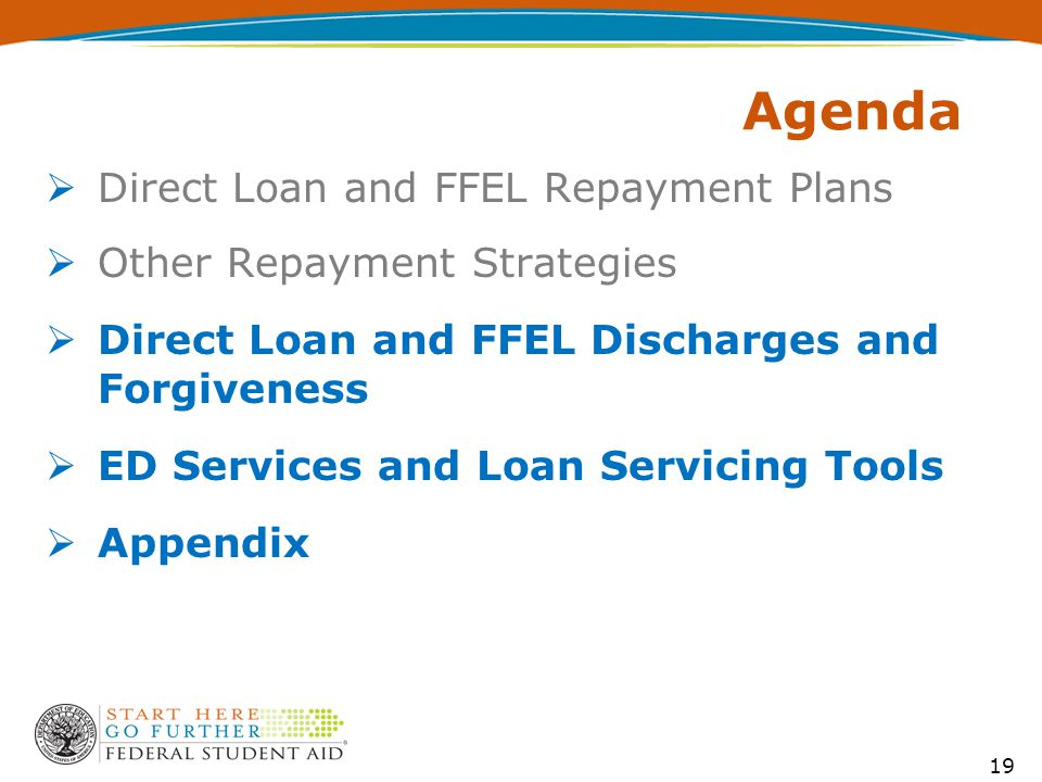 19 Agenda  Direct Loan and FFEL Repayment Plans  Other Repayment Strategies  Direct Loan and FFEL Discharges and Forgiveness  ED Services and Loan Servicing Tools  Appendix