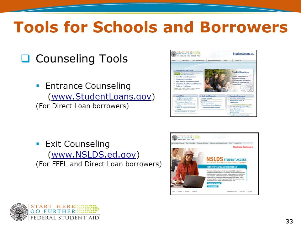  Counseling Tools  Entrance Counseling (www.StudentLoans.gov)www.StudentLoans.gov (For Direct Loan borrowers)  Exit Counseling (www.NSLDS.ed.gov)www.NSLDS.ed.gov (For FFEL and Direct Loan borrowers) 33 Tools for Schools and Borrowers