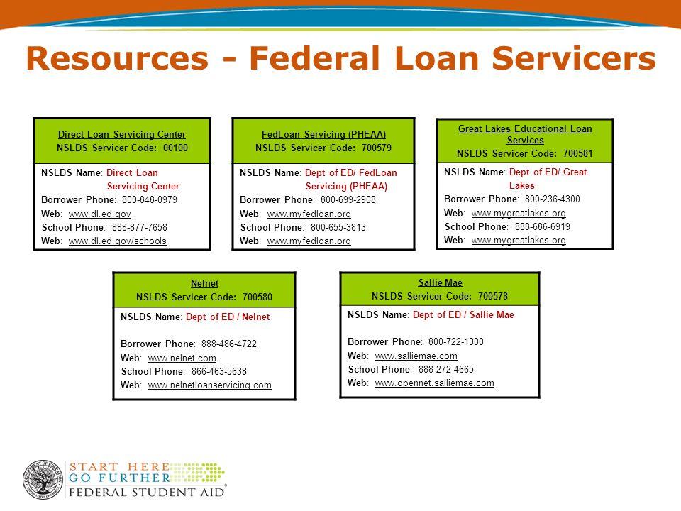 Direct Loan Servicing Center NSLDS Servicer Code: 00100 NSLDS Name: Direct Loan Servicing Center Borrower Phone: 800-848-0979 Web: www.dl.ed.gov School Phone: 888-877-7658 Web: www.dl.ed.gov/schools FedLoan Servicing (PHEAA) NSLDS Servicer Code: 700579 NSLDS Name: Dept of ED/ FedLoan Servicing (PHEAA) Borrower Phone: 800-699-2908 Web: www.myfedloan.org School Phone: 800-655-3813 Web: www.myfedloan.org Great Lakes Educational Loan Services NSLDS Servicer Code: 700581 NSLDS Name: Dept of ED/ Great Lakes Borrower Phone: 800-236-4300 Web: www.mygreatlakes.org School Phone: 888-686-6919 Web: www.mygreatlakes.org Nelnet NSLDS Servicer Code: 700580 NSLDS Name: Dept of ED / Nelnet Borrower Phone: 888-486-4722 Web: www.nelnet.com School Phone: 866-463-5638 Web: www.nelnetloanservicing.com Sallie Mae NSLDS Servicer Code: 700578 NSLDS Name: Dept of ED / Sallie Mae Borrower Phone: 800-722-1300 Web: www.salliemae.com School Phone: 888-272-4665 Web: www.opennet.salliemae.com Resources - Federal Loan Servicers