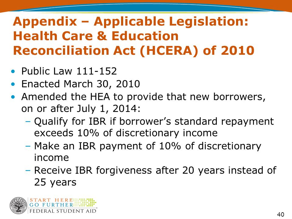 Appendix – Applicable Legislation: Health Care & Education Reconciliation Act (HCERA) of 2010 Public Law 111-152 Enacted March 30, 2010 Amended the HEA to provide that new borrowers, on or after July 1, 2014: –Qualify for IBR if borrower's standard repayment exceeds 10% of discretionary income –Make an IBR payment of 10% of discretionary income –Receive IBR forgiveness after 20 years instead of 25 years 40