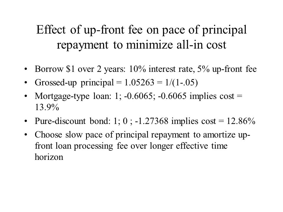 Effect of up-front fee on pace of principal repayment to minimize all-in cost Borrow $1 over 2 years: 10% interest rate, 5% up-front fee Grossed-up principal = 1.05263 = 1/(1-.05) Mortgage-type loan: 1; -0.6065; -0.6065 implies cost = 13.9% Pure-discount bond: 1; 0 ; -1.27368 implies cost = 12.86% Choose slow pace of principal repayment to amortize up- front loan processing fee over longer effective time horizon