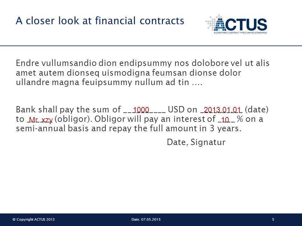 © Copyright ACTUS 20135Date: 07.05.2015 A closer look at financial contracts Endre vullumsandio dion endipsummy nos dolobore vel ut alis amet autem di
