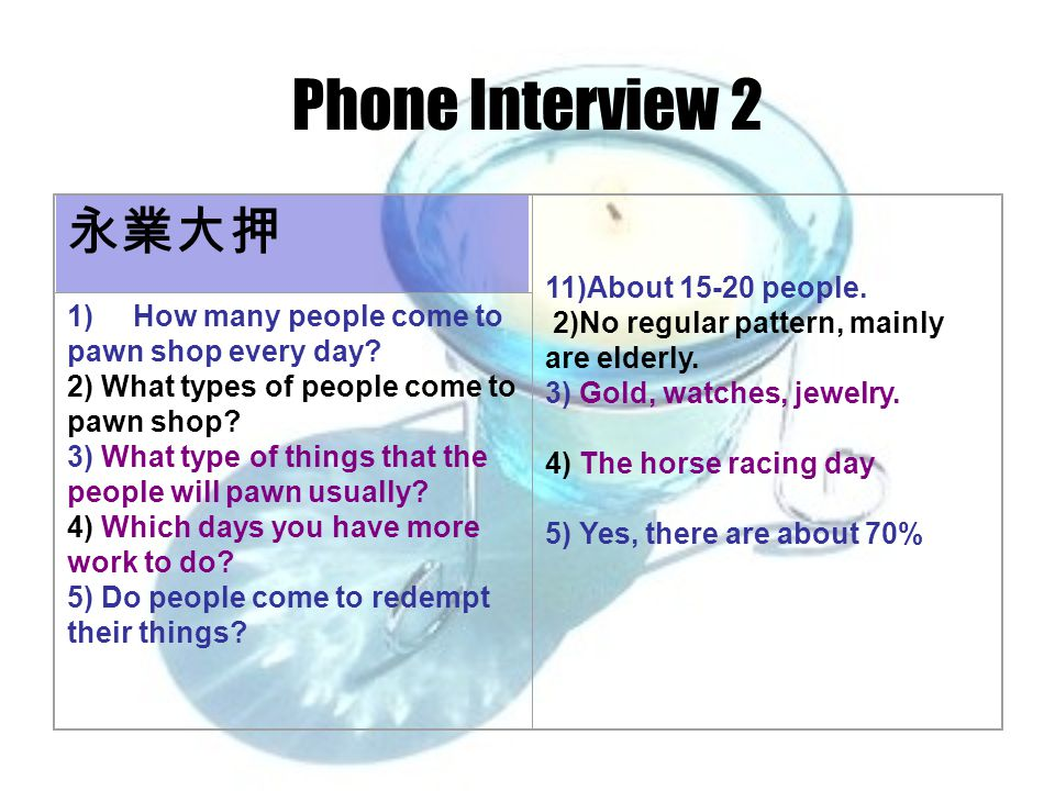 Phone Interview 2 永業大押 11)About 15-20 people. 2)No regular pattern, mainly are elderly.