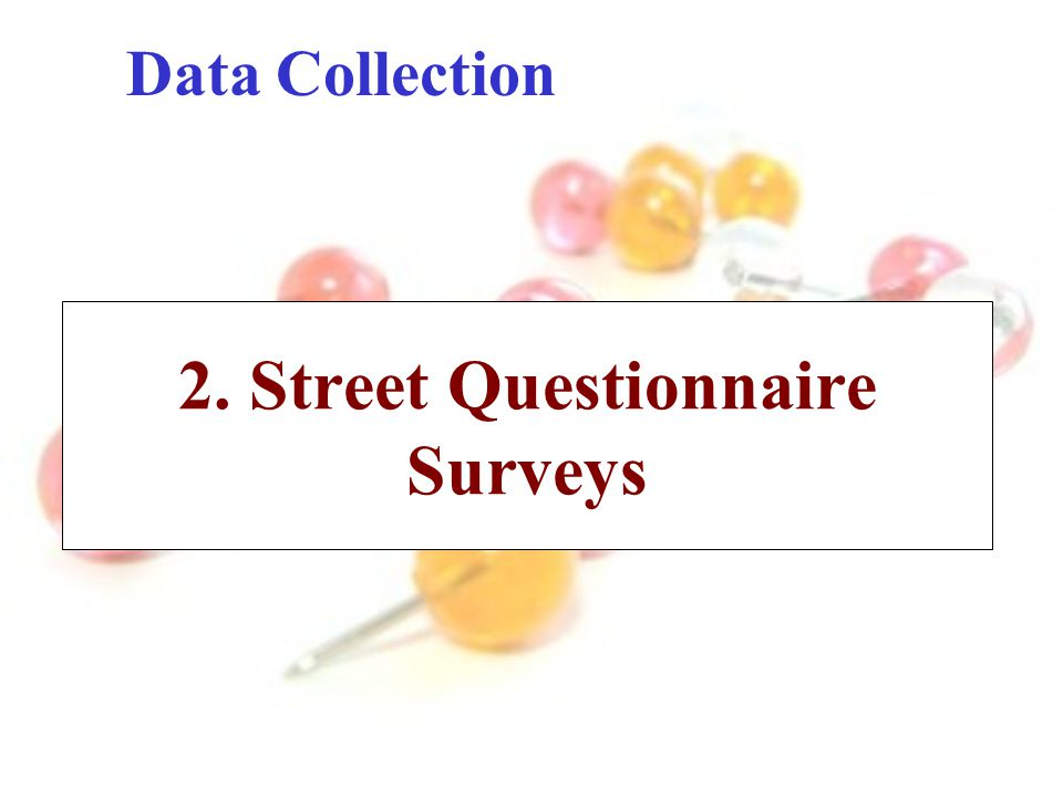 Data Collection 2. Street Questionnaire Surveys