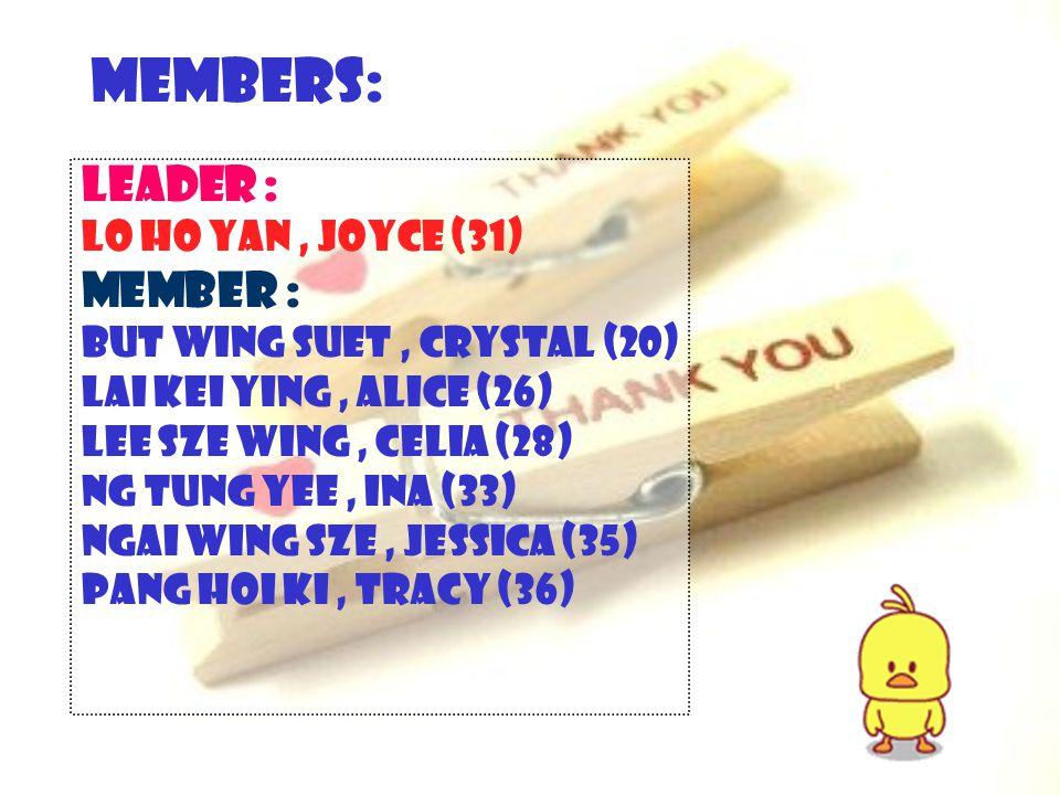 Members: Leader : Lo Ho Yan, Joyce (31) Member : But Wing Suet, Crystal (20) Lai Kei Ying, Alice (26) Lee Sze Wing, Celia (28) Ng Tung Yee, Ina (33) Ngai Wing Sze, Jessica (35) Pang Hoi Ki, Tracy (36)